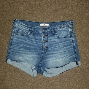 Hollister high waist button fly cuffed shorts 7